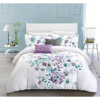 Chic Home Aylett Lavender Floral Cotton Reversible 5 Piece Comforter Set
