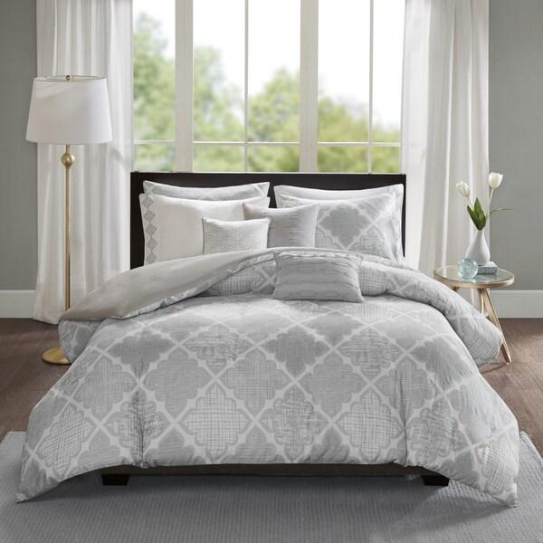 Madison Park Karyna Grey 8-piece Cotton Sateen Printed Duvet Cover Set