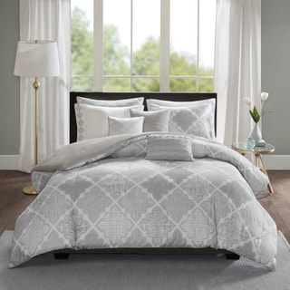 Madison Park Karyna Grey 8-piece Cotton Sateen Printed Duvet Cover Set
