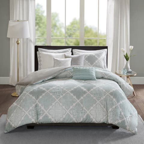 Madison Park Karyna Aqua 8-piece Cotton Sateen Printed Duvet Cover Set