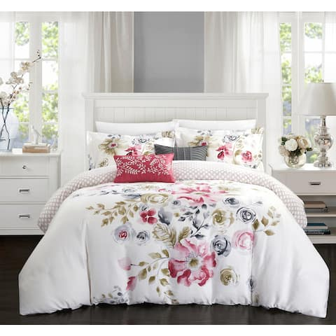 Chic Home Aylett Rose Floral Cotton Reversible 5 Piece Comforter Set