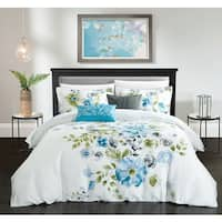 Chic Home Aylett Blue Floral Cotton Reversible 5 Piece Comforter Set
