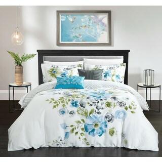 Chic Home Aylett Blue Floral Cotton Reversible 5 Piece Comforter Set