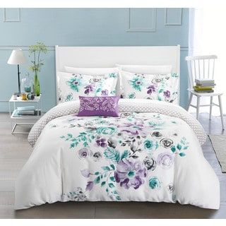 Chic Home Mitzy Lavender Floral Cotton Reversible 4 Piece Duvet Cover Set