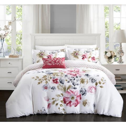 Chic Home Mitzy Rose Floral Cotton Reversible 4 Piece Duvet Cover Set