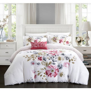 Chic Home Mitzy Rose Floral Cotton Reversible 4 Piece Duvet Cover Set