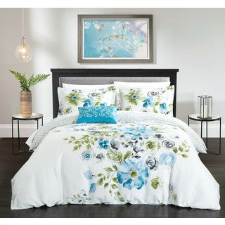 Chic Home Mitzy Blue Floral Cotton Reversible 4 Piece Duvet Cover Set