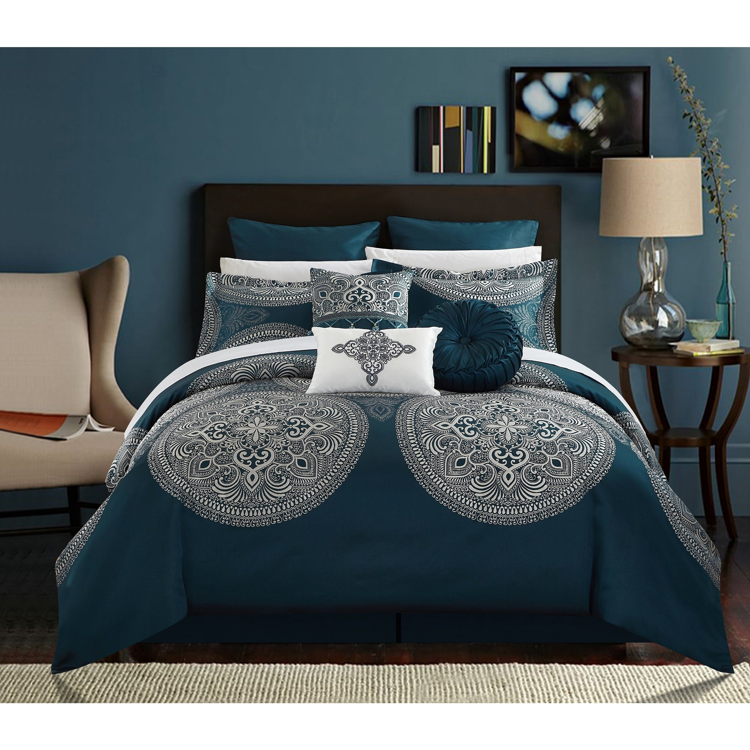 Chic Home 9 Piece Adana Teal Comforter Set On Sale Overstock 18038279 Queen