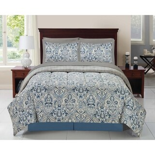 Blue Scallop 8 Piece Complete Bed In A Bag Comforter Set With Sheets