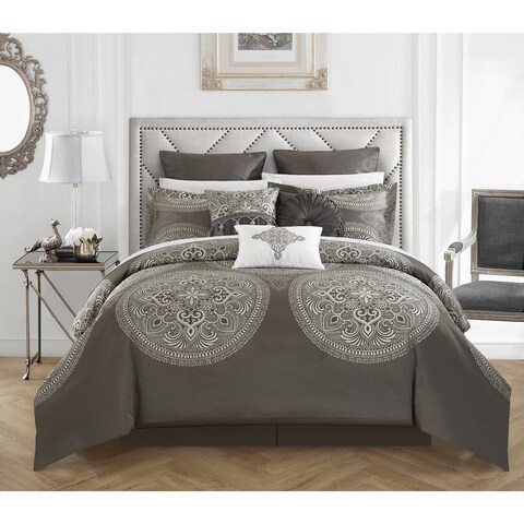 Chic Home 13-Piece Adana Grey Bed in a Bag Comforter Set