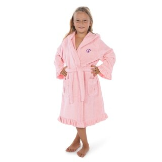 Sweet Kids Ruffled Pink Turkish Cotton Hooded Terry Bathrobe with Purple Script Initial