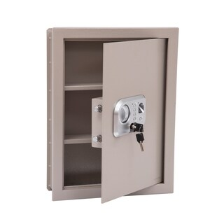 HomCom Digital Wall Mounted Home Security Storage Safe with Biometric Fingerprint Scan