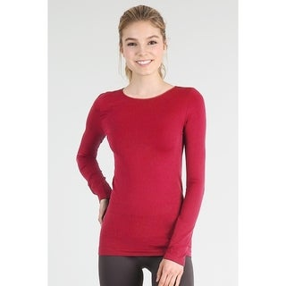 Nikibiki Women's Seamless Long Sleeve Crew Neck Top