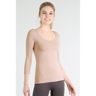 Nikibiki Women's Seamless 3/4 Sleeve Scoop Neck Top