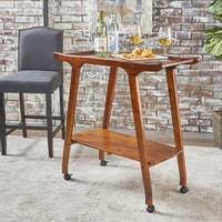 Cadman Mid-century Modern  Acacia Wood Bar Cart by Christopher Knight Home