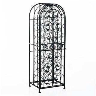 HomCom Free-Standing Decorative Wrought Iron Wine Rack Jail