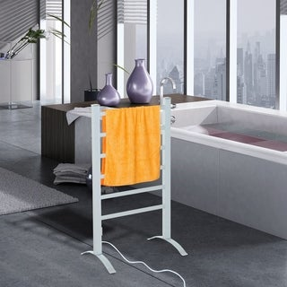 HomCom 6 Bar Aluminum Freestanding Electric Towel Warmer Drying Rack
