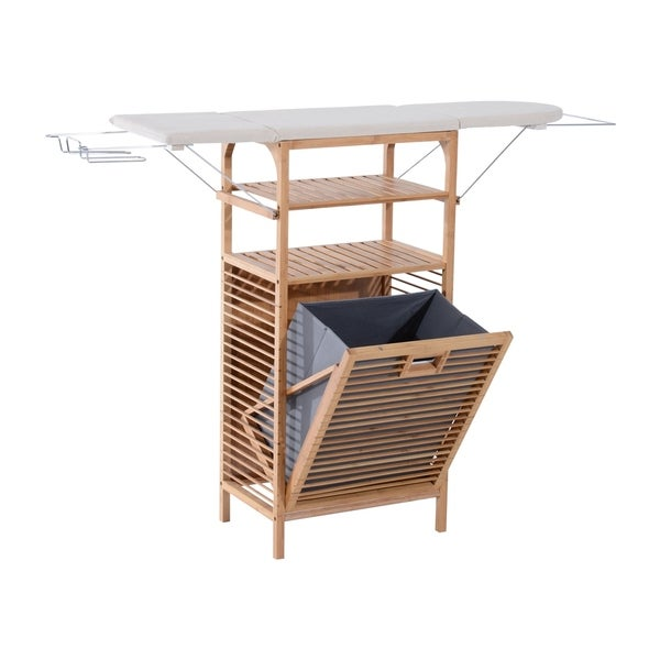 Homcom Collapsible Ironing Board And Shelving Unit With Hamper Gray