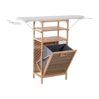 HomCom Collapsible Ironing Board and Shelving Unit with Hamper - grey