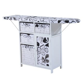 HomCom Wood Wicker Ironing Board Center with Baskets - White
