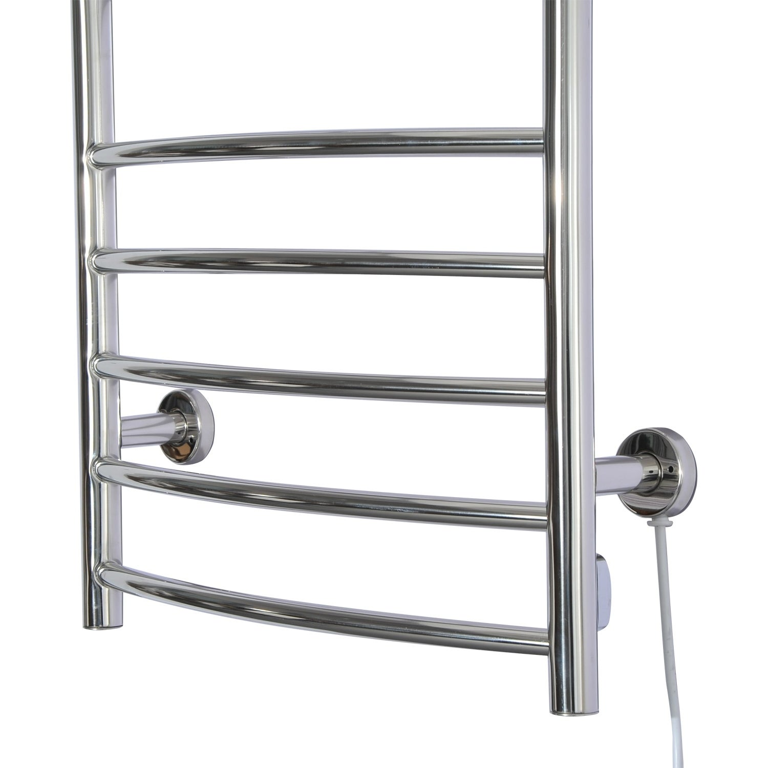 Homcom 10 Bar Curved Stainless Steel Wall Mounted Heated Towel Warmer Rack