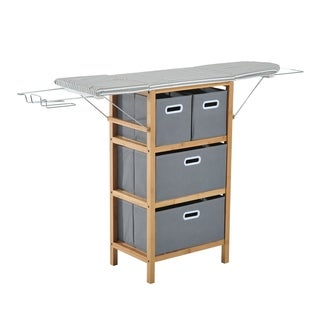 HomCom Collapsible Ironing Board and Shelving Unit with Storage Boxes - gray