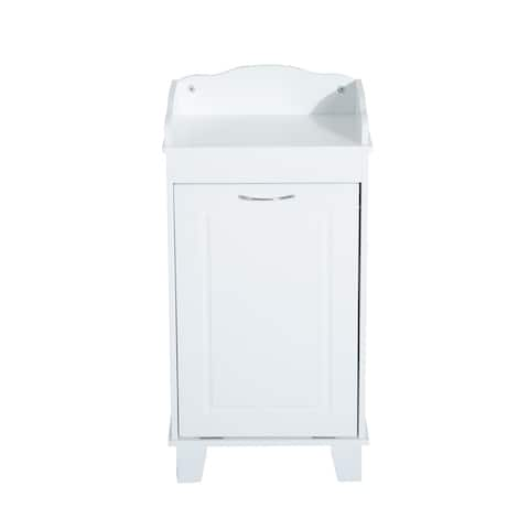 HomCom Wooden Bathroom Laundry Hamper Cabinet