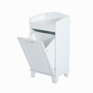 HomCom Wooden Bathroom Laundry Hamper Cabinet
