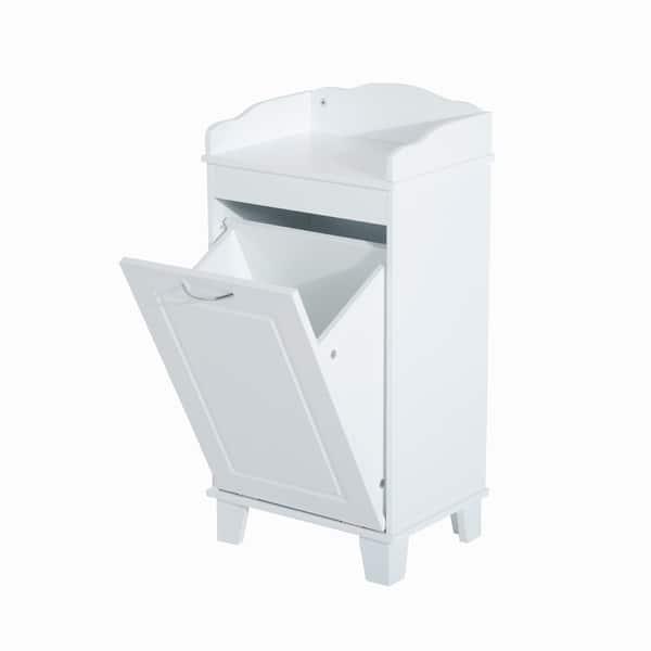 Shop Homcom Wooden Bathroom Laundry Hamper Cabinet Free