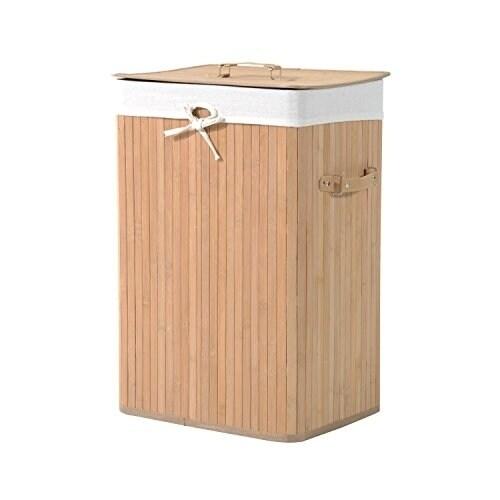 HomCom Square Spa-Style Bamboo and Canvas Laundry Hamper,...