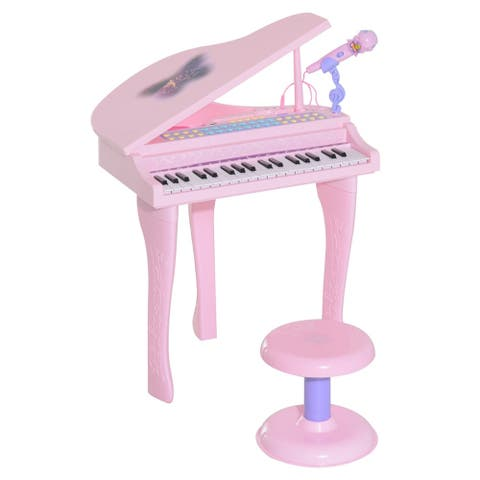 Qaba 37 Key Kids Toy Baby Grand Digital Piano with Microphone and Stool, Pink