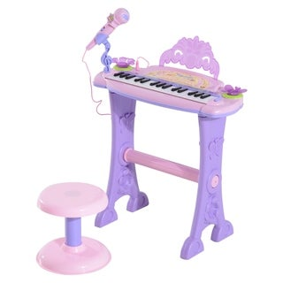Qaba Kids Butterfly Garden Electronic Piano Keyboard with Stool and Microphone