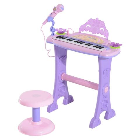 Qaba 32 Key Electronic Kids Toy Keyboard with Stool and Microphone- Pink / Purple Butterflies
