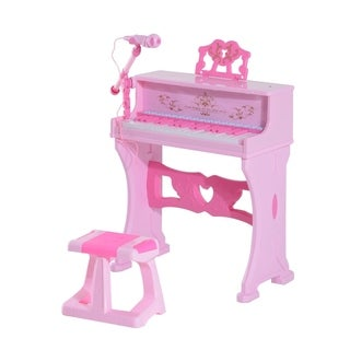 Qaba Kids Lovely Princess Electronic Piano Keyboard with Stool and Microphone