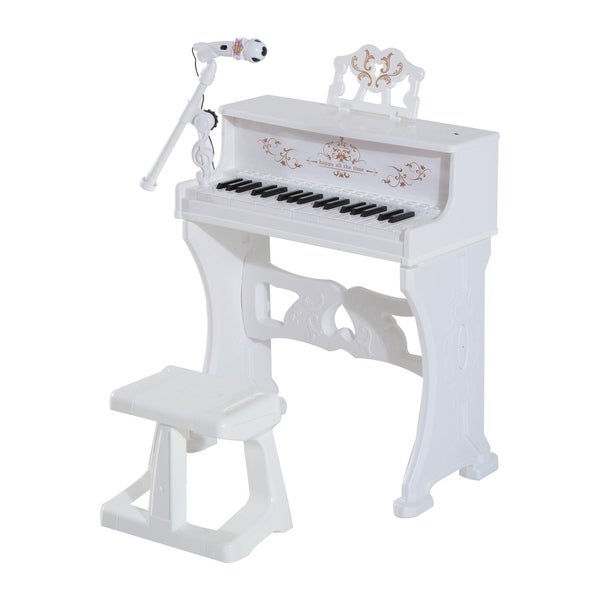 Qaba 32 Key Princess Electronic Kids Keyboard with Stool and Microphone, White. Opens flyout.