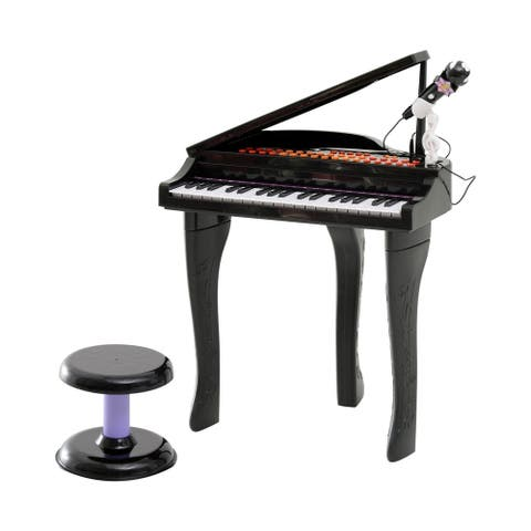 Qaba 37 Key Kids Toy Baby Grand Digital Piano with Microphone and Stool, Black
