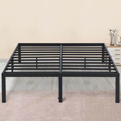 Sleeplanner 14-inch King-Size Dura Metal Steel Slate Bed Frame OVT-2000 Gray