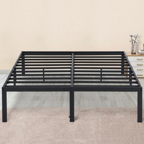 Sleeplanner 14-inch Full-Size Dura Metal Steel Slate Bed Frame OVT-2000 Gray
