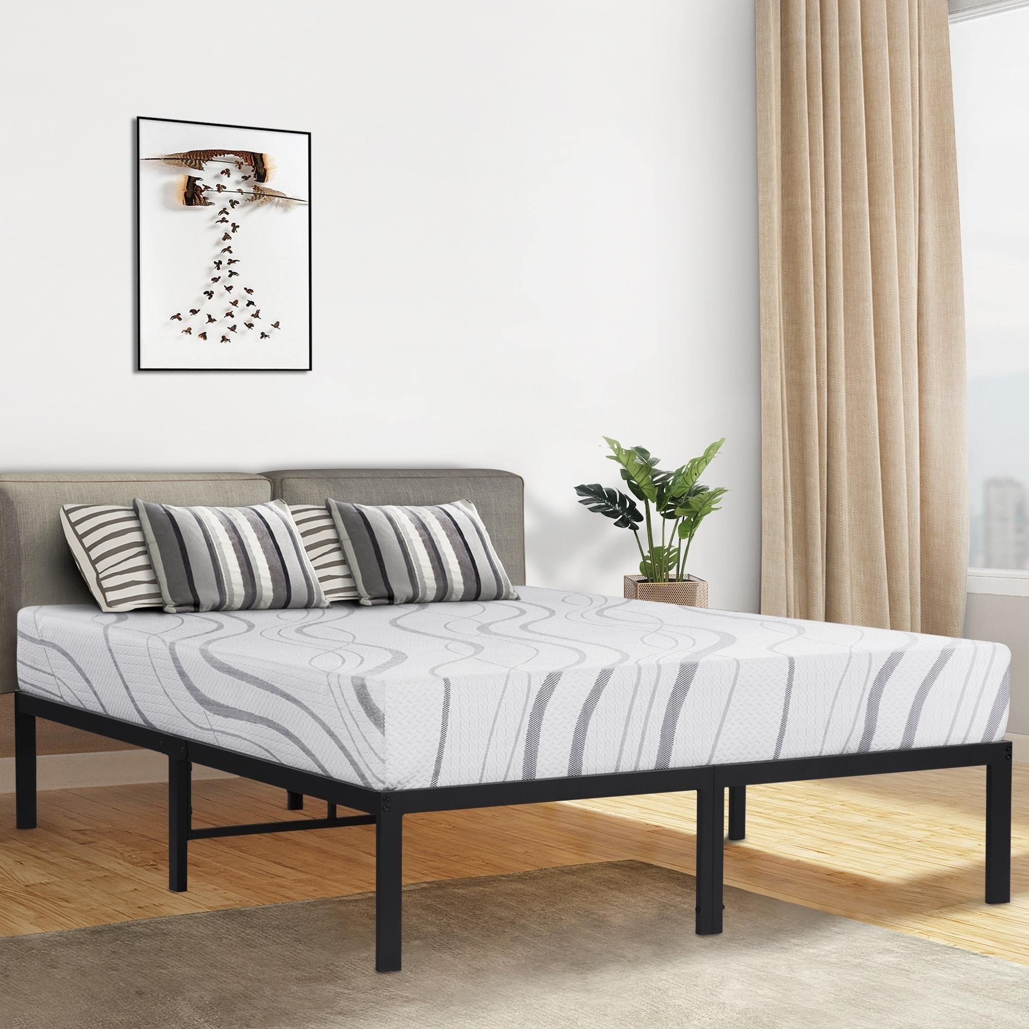 14 Inch Tall Metal Platform Bed Frame Steel Slat Queen Full Twin King Size Bed Home Garden Bedding