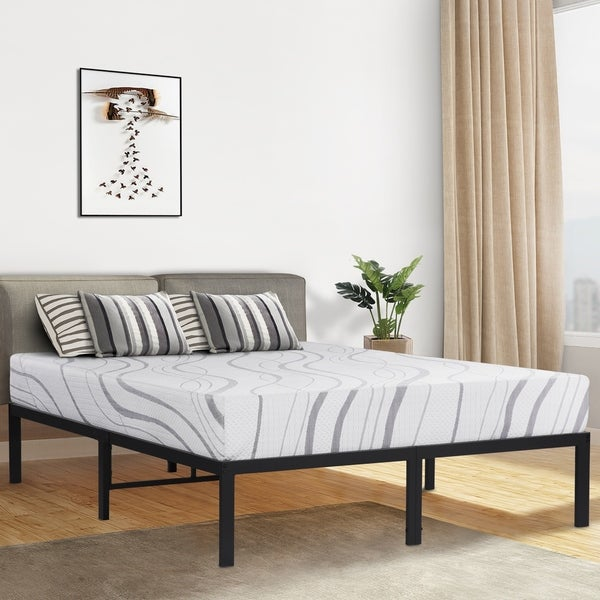 Sleeplanner 14-inch King-Size Dura Round Edge Steel Slat Bed Frame OVT-2000