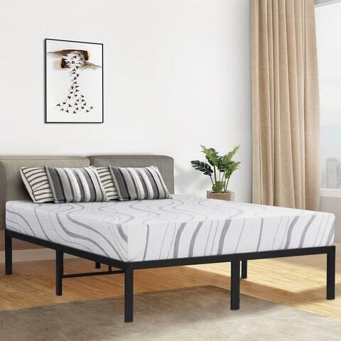 Sleeplanner 14-inch Queen-Size Dura Round Edge Steel Slat Bed Frame OVT-2000