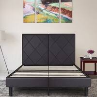 Sleeplanner 14-inch Queen-Size Upholstered Bed Frame with Brown Rhombus Faux Leather Headboard