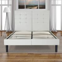 Sleeplanner 14-inch Full-Size Dura Metal Bed Frame with Light Grey Button Faux Leather Headboard
