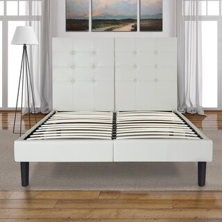 Sleeplanner 14-inch Full-Size Dura Metal Bed Frame with White Button Faux Leather Headboard