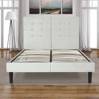 Sleeplanner 14-inch King-Size Dura Metal Bed Frame with White Button Faux Leather Headboard