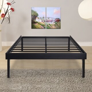 Sleeplanner 18-inch Twin-Size Steel Slat Bed Frame with Faux Leather Side Guard OVS-3000