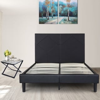 Sleeplanner 14-inch Queen-Size Dura Metal Bed Frame with Black Diamond Faux Leather Headboard