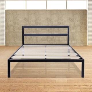 Sleeplanner 14-inch King-Size Metal Bed Frame with Steel Slat Headboard