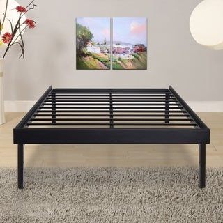 Sleeplanner 18-inch King-Size Steel Slat Bed Frame with Faux Leather Side Guard OVS-3000