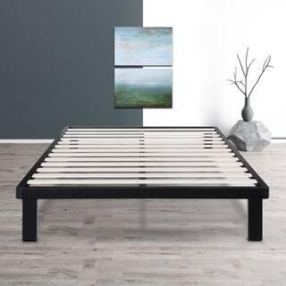 sleeplanner 14 inch king size dura metal bed frame with wood slat - Wood Slat Bed Frame